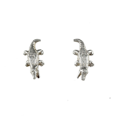 "5/8"" Sterling Alligator Earrings - Lone Palm Jewelry"