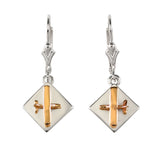 30914 - Mixed Metal High Wing Aircraft Earrings on Disk