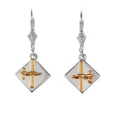 30913 - Mixed Metal Low Wing Aircraft Earrings on Disk