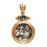 Boy on Dolphin Greek Diadrachm with Blue Topaz in 14k - Item #3353