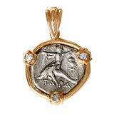 Boy on Dolphin Greek Diadrachm in 14k with Diamonds - Item #3357