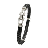 40403d - Double Shackle Black Cable Bracelet with Diamonds