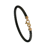 40406 - Simple Black Cable Bracelet with Infinity Clasp