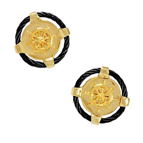 40444a - Ships Wheel Black Titanium Cable Cuff links