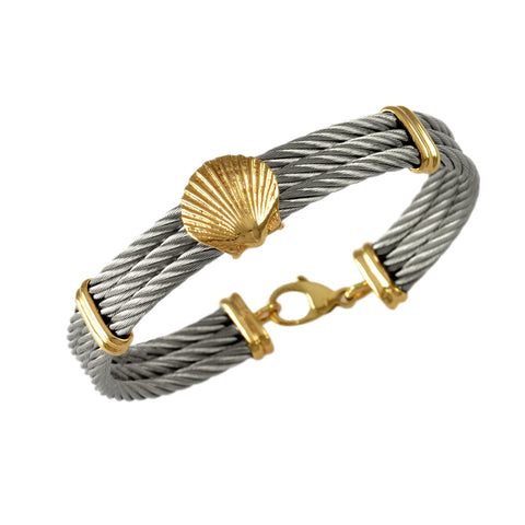 40476 - Cable Bracelet with Scallop Shell Center
