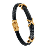 40482 - Black Cable Bracelet with Cross Wraps