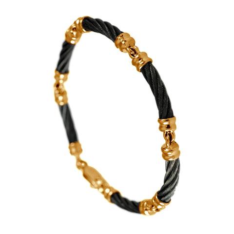 40485 - Six Segment Black Cable Bracelet