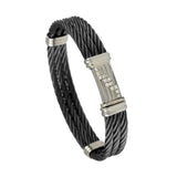 41425 - Triple Black Cable Bracelet with Diamond Clasp