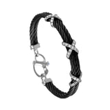 41429 - Double Black Cable Bracelet with Diamond X Accents
