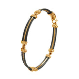 41463 - Five Segment Black Cable Bracelet with Gold Center