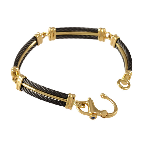 41464 - Four Segment Black Cable Bracelet with Sapphire Clasp