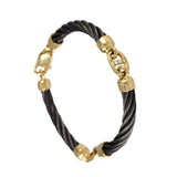 41485d - Three Segment Black Cable Bracelet with Diamonds