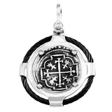 "Atocha Silver 1"" Replica Coin Pendant in 2 Part Metal & Black Cable Setting - Item #41491"