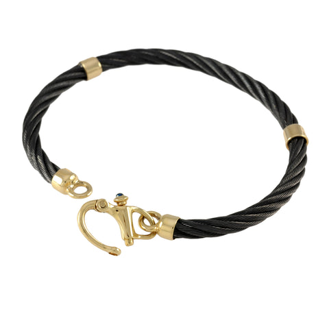 41498 - Black Cable Bracelet with Sapphire Clasp