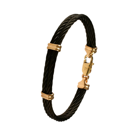 42406 - Double Wrap Black Cable Bracelet