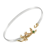 Gecko Lizard & Emerald Hook Bracelet - Lone Palm Jewelry