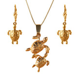 Sea Turtle Mother and Baby  - Necklace and Earring Set - FREE SHIPPING - #46572