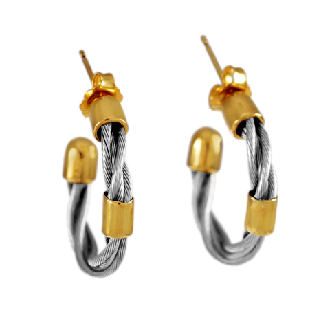 "47010 - 3/4"" New Twist Hoop Earrings with Bead Accent"