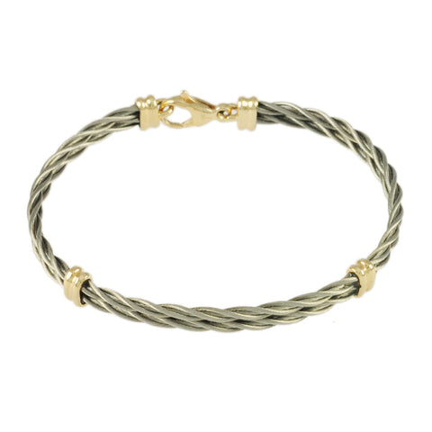 Double New Twist Cable with Grooved Wraps - Lone Palm Jewelry