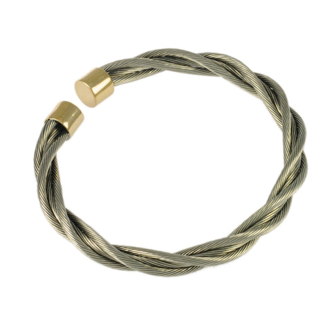 Bullet End New Twist Cable Cuff - Lone Palm Jewelry