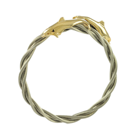 Double Dolphin New Twist Cable Cuff - Lone Palm Jewelry