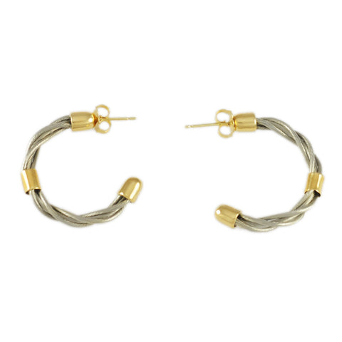 "3/4"" New Twist Hoop Earrings with Bead Accent - Lone Palm Jewelry"