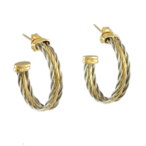 Triple New Twist Hoop Earrings with Gold Center - Lone Palm Jewelry
