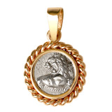 An Ancient Greek hemidrachm coin depicting a lion on its face and an incuse pattern on the opposite side mounted in a twist 14kt rope bezel and polished tapered bail. This is a small pendant, about the size of a US dime. Each mounting is handcrafted in the USA to protect the coin and fit precisely.