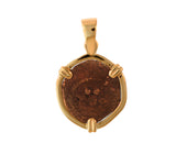 Authentic Widow's Mite Coin 14kt Gold Pendant- Copper Coin from Biblical Times - Item #6003-74