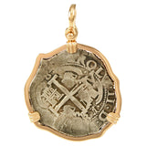 Spanish Colonial Coin - 8 Reales in 14kt Gold - Item #6023 - Lone Palm Jewelry