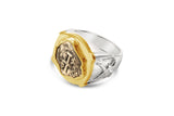 New World Spanish Treasure 1/2 Real Sterling Silver and 14kt Gold Ring - #7566