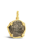 New World Spanish Treasure Coin Pendant in 14k - 2 Reales - Item #8445