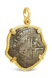 Authentic Shipwreck La Capitana Coin Pendant - 8 Reales in 14k Gold Frame - Item #8475
