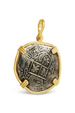 Authentic Shipwreck La Capitana Coin Pendant - 8 Reales in 14k Gold Frame - Item #8476