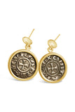 Authentic Crusader Coin Earrings - AR Denaro in 14k Frame - Item #8605/8616