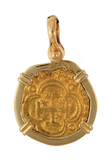 Authentic Old World Spanish Treasure Gold Coin in 14k Mounting- 2 Escudos - Item #8631