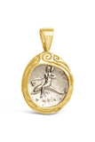 Authentic Boy on Dolphin Silver Greek AR Diadrachm Coin Mounted in 14k Gold - Item #8829