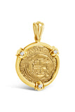 Authentic Old World Spanish Gold Coin - 1 Escudo in a 14k Gold Frame with Diamonds -  Item #8835