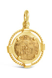 Authentic Old World Spanish Gold Coin - 2 Escudos in a 14k Gold Frame-  Item #8837