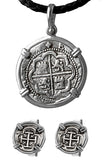 Replica Atocha Treasure Coin Set - Pendant, Cuff Links, and Leather Necklace Item #46574