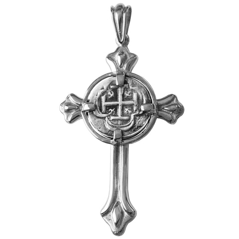 "Shipwreck Atocha Silver 1/2"" Replica Coin Cross Pendant - Item #14928"