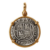 "Atocha Silver 1 1/2"" Replica Spanish 4 Reales Coin Pendant with Shackle Bail - Item #18340"