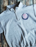 Monogrammed Wreath 1/4 Zip Cadet Collar Sweatshirt