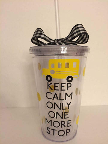 Handcrafted School Bus Driver Tumbler