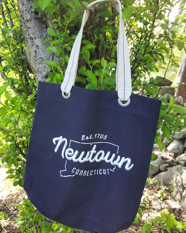 Vintage Newtown Navy Tote Bag