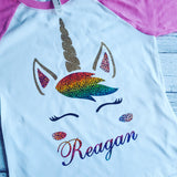 Rainbow Unicorn GLITTER HOLOGRAM Shirt