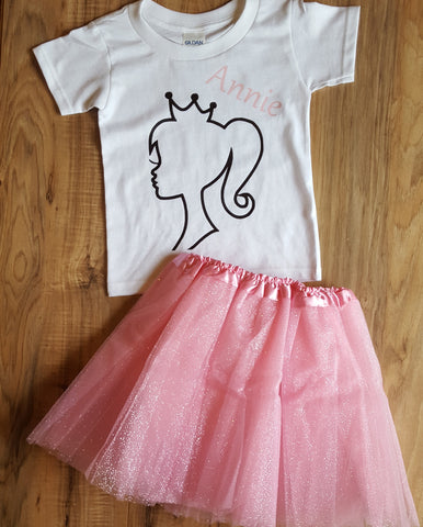 "Princess T-Shirt plus 11"" Fluffy Tutu Skirt"