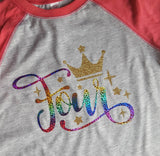 RAINBOW GLITTER CUSTOM YEAR BIRTHDAY SHIRT