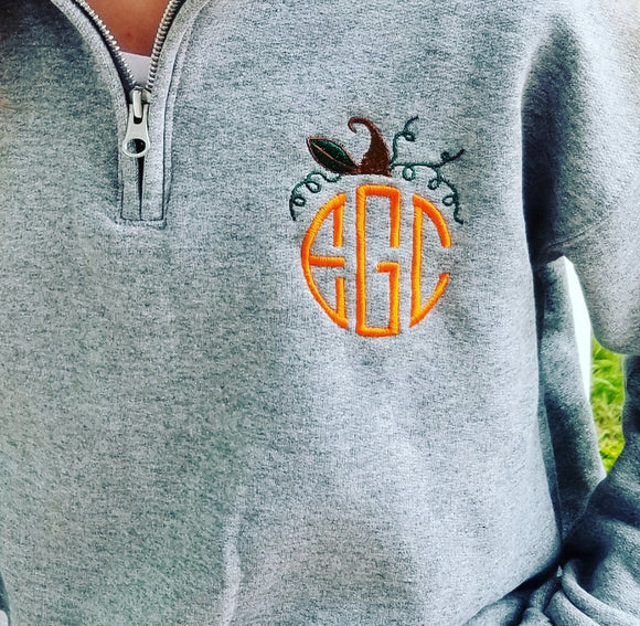 Fall Monogrammed 1/4 Zip Cadet Collar Sweatshirt