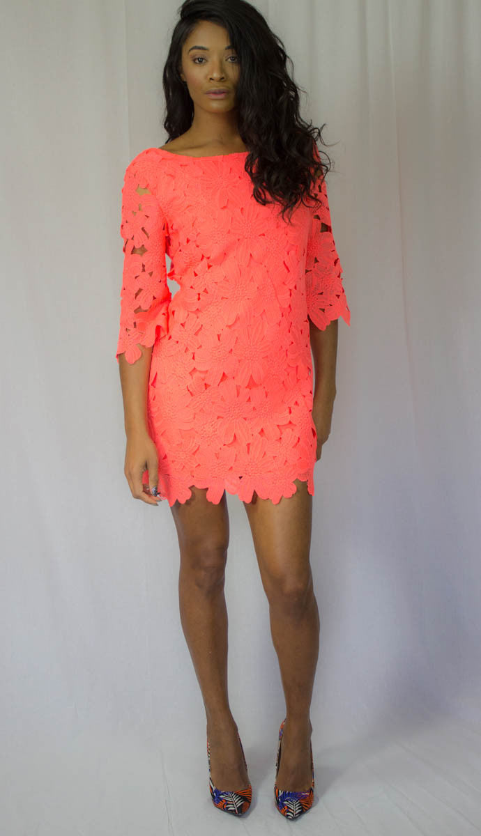 Neon Coral Lace Mini Dress